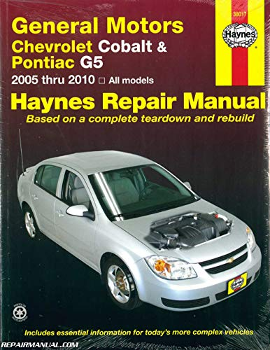 H38017 Chevrolet Cobalt 2005-2010 Pontiac G5 2007-2009 Pontiac Pursuit 2005-2006 Haynes Repair Manual