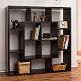 Aydan Modern Square Walnut Bookshelf/Room Divider