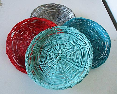 Four Wicker Paper Plates Holders, Upcycled, Picnics, Outdoor Dining, Beach Parties, Pool Parties, Outdoor Entertainment, Ding, Al Fresco, BBQ Parties