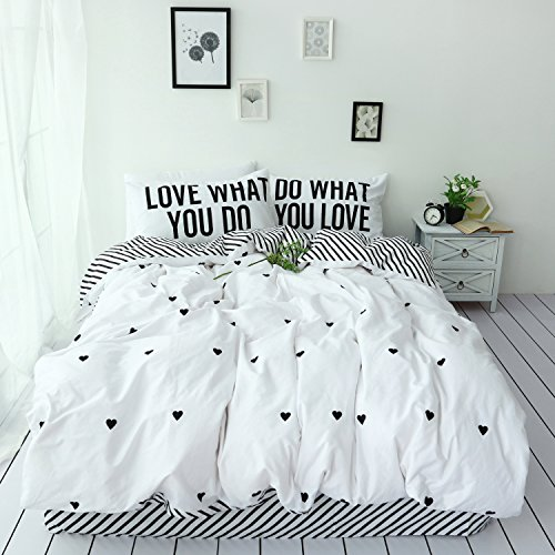 (3 Piece Duvet Cover Sets Hotel Quality 100% Cotton -White loving heart - Luxurious, Comfortable, Breathable, Soft and Extremely Durable Bedding Sets Full Queen Size)