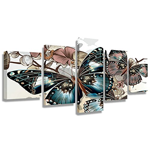 CrmArt 5 Panel Wall Art Painting Colorful Butterfly Pictures Prints On Canvas Animal The Picture Decor Oil for Home Modern Decoration Office Bedroom Kitchen Bathroom(60