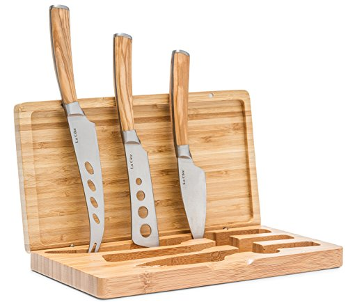 La Cote Premium Cheese Servers Accessories (3 Piece Cheese Knife Set In Bamboo box) by La Cote Homeware
