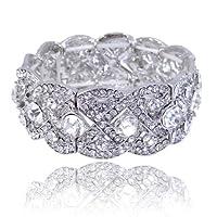 EVER FAITH Austrian Crystal Wedding Art Deco Elastic Stretch Bracelet Clear