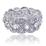 EVER FAITH Austrian Crystal Wedding Art Deco Elastic Stretch Bracelet Clear Silver-Tone