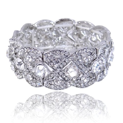 Austrian Crystal Stretch Bracelet (EVER FAITH Austrian Crystal Wedding Art Deco Elastic Stretch Bracelet Clear Silver-Tone)