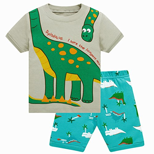 Boys Pajamas Dinosaur PJs for Toddler 2T Cotton Shorts Little Kids Sleepwear 2 Piece Set by ZFBOZS