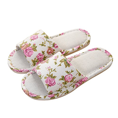 Fashion Women Hemp Household Shoes Platform Flops Indoor Outdoor Home Spa Hotel Summer Slippers Sandals (US:7-7.5, Beige) ()
