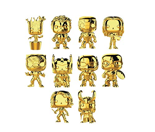 Ten Gold Chrome Marvel POP! Figure Set