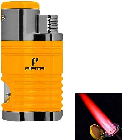 PIPITA Mechero Resistente al viento 4 Rojo Llamas Gas Butano Recargable Encendedor de cigarros Linterna Jet Flame Turbo Encendedors (Vendido sin Gas): Amazon.es: Hogar