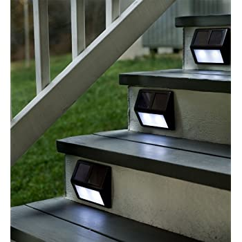 Plow Hearth Solar Powered Outdoor Step Stair Lights Alum