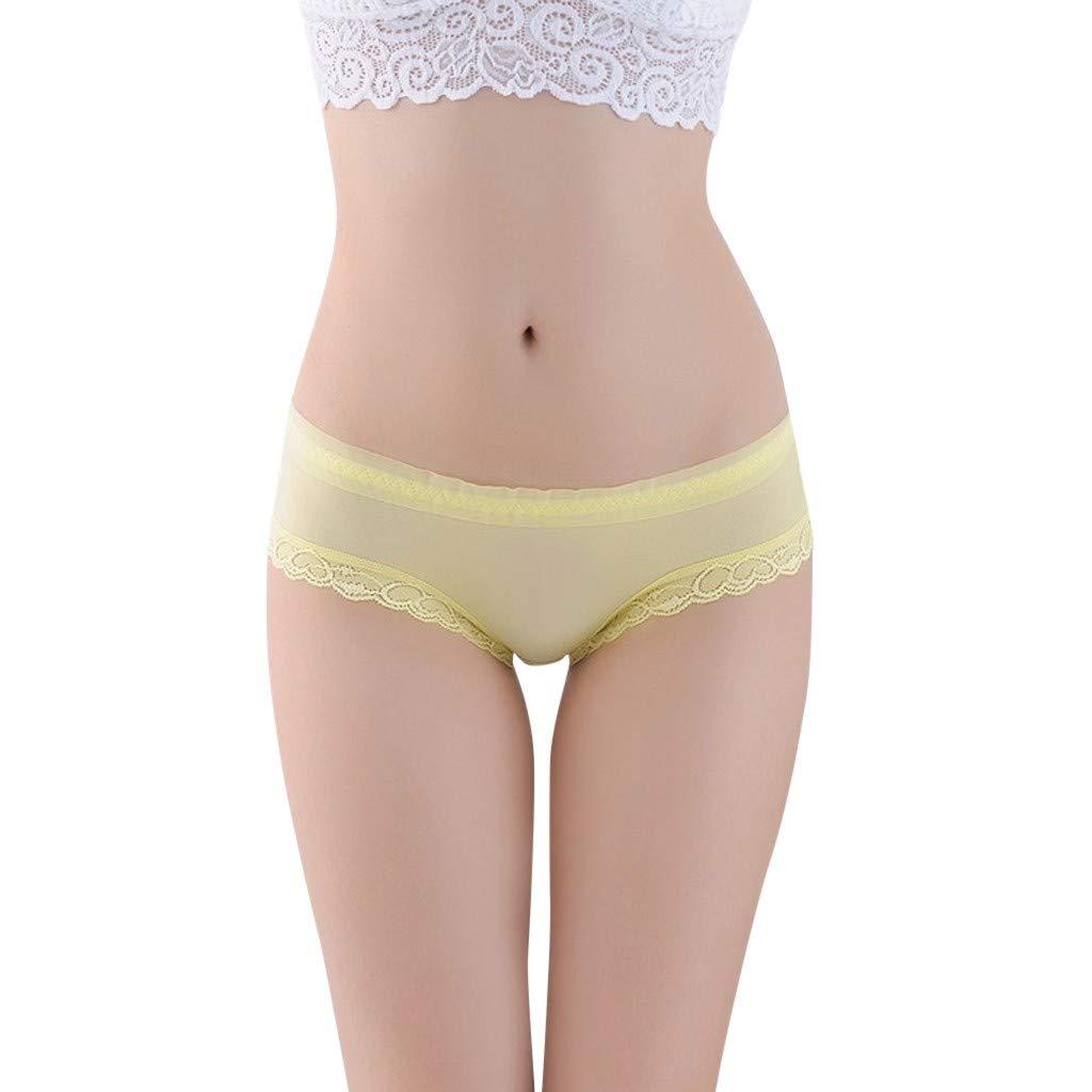 Women Underwear Perspective Lace Splice Briefs Panties Nightgown Casual Lingerie Sleepwear by FAPIZI Yellow
