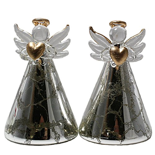 - Red Carpet Studios Color-Changing Light-Up Glass Angels (Set of 2), Crackled