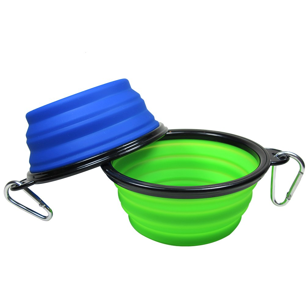 Douges Big Size Travel Pet Bowl, for Cats and Dogs, Silicon, Collapsible Bowl for Food and Water Feeding (Blue,Green)
