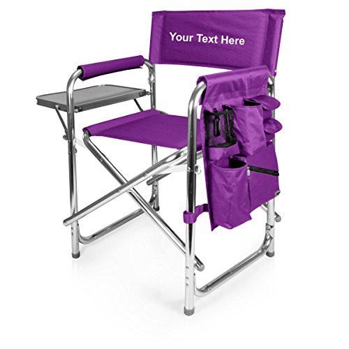 (Personalized Embroidered Sports Director Chair with Side Table and Pocket- Purple)