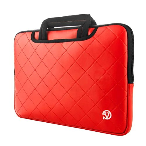 VanGoddy PU Leather Briefcase Bag Carrying Sleeve for HP ProBook 645 G1 14 inch, ProBook 655 G2 15.6, HP 250 G4 15.6 inch Notebooks Laptop(Red) (Hp Probook 650 G1 Hard Drive Removal)