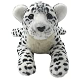 TAGLN The Jungle Animals Stuffed Plush Toys Cheetah Tiger Panther Lioness Pillows (White Leopard, 16 Inch)