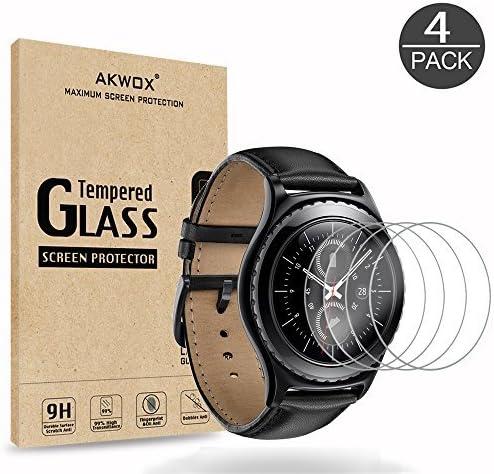 AKWOX [4 Unidades] Protector de Pantalla para Gear S2 (1.2 Inch)/Gear Sport, [9H Dureza] Cristal Vidrio Templado para Samsung Gear S2 Classic/Gear Sport Smart Watch Cristal Templado