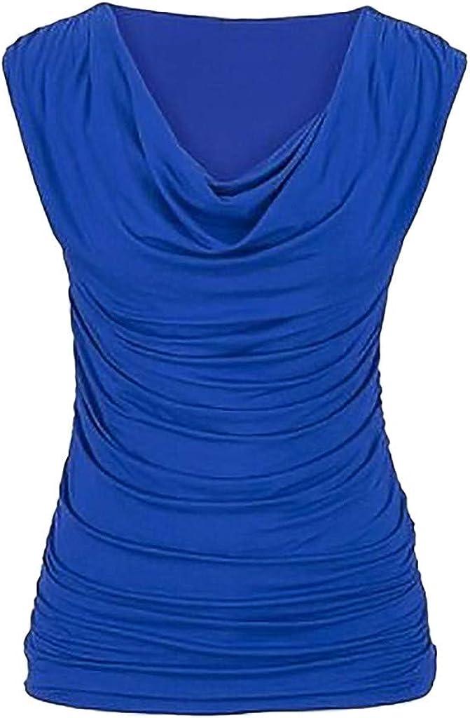 ADESHOP Women Casual Round Neck Pullover Sleeveless Slim Slimming T-Shirt Tops Blouse Women Vest Top Yoga Tank Tops