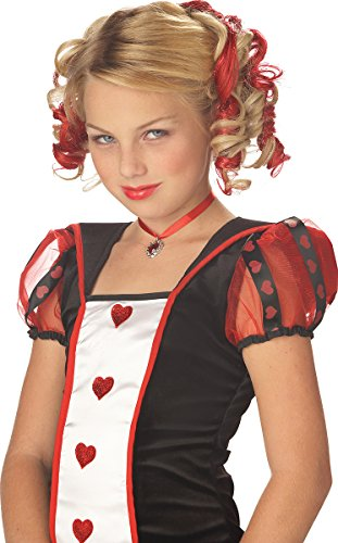 [Blonde and Red Curly Clips Wig] (Red Queen Of Hearts Costumes Wig)