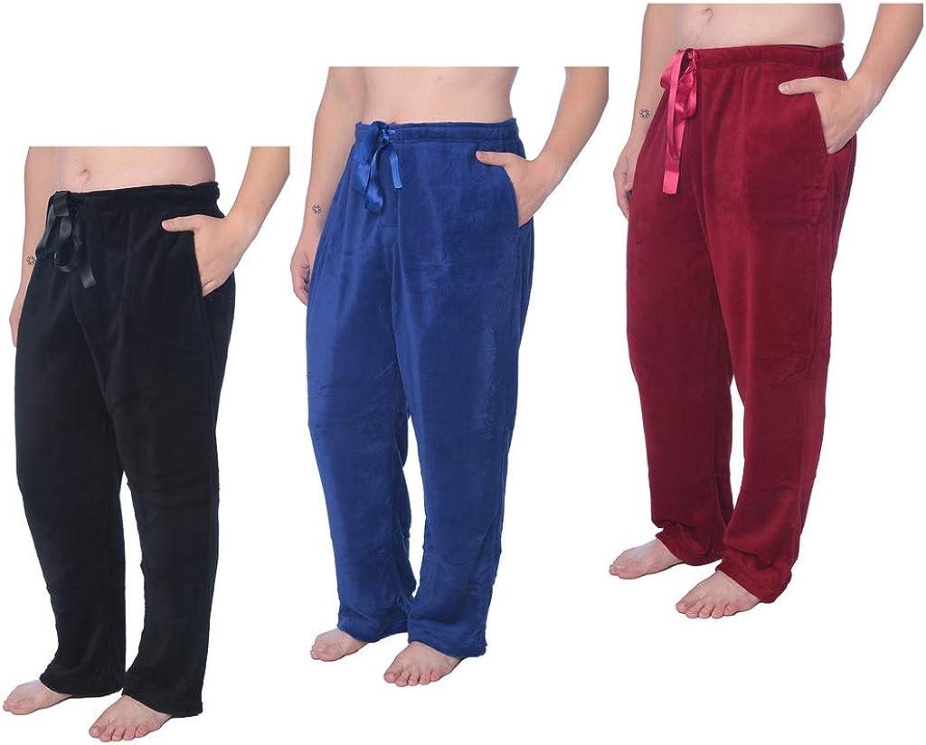 Mens Soft Plush Lounge Pants Coral Fleece Plus Size Long Pajama Pants