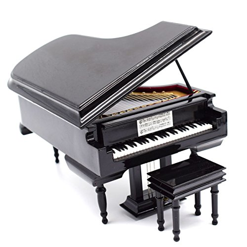 Mylifestyle Piano Music Box with Bench and Black Case Musical Boxes Gift For Christmas/Birthday/Valentine's day, Melody Castle in the Sky