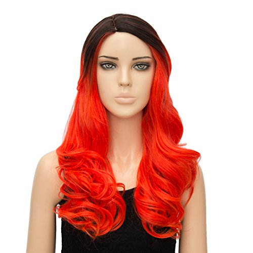 [Alacos Fashion Reddish Orange Curly Wavy Synthetic Christmas Costumes Party Wigs Collection for Men And Women +Wig Cap] (50's Man Costume)