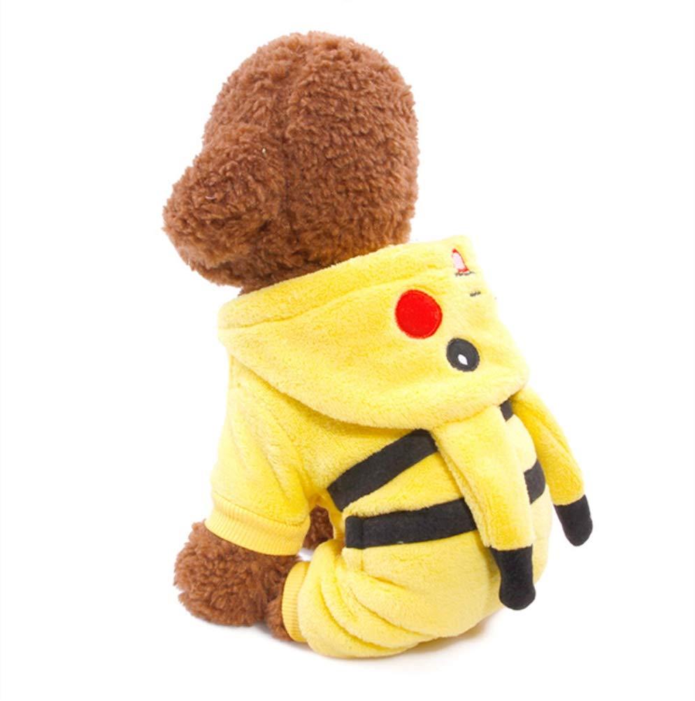 ShuoBeiter Kapuzen-Hundemantel Bekleidung Kleine Hunde Karikatur Design Haustier Kostüm Dog Clothes Kleider Hundebekleidung bezaubernd Jacke Mantel Hoodies Gelb)