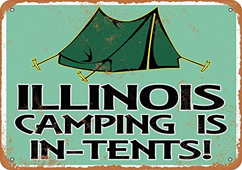 Anwei Signs 12 x 16 Tin Sign - Illinois Camping is in-Tents - Metal Sign Vintage Look Garage Man Cave Retro Wall Decor