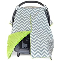 Kids N' Such 2-in-1 Chevron Car Seat Canopy and Nursing Cover- Lime Green Min...