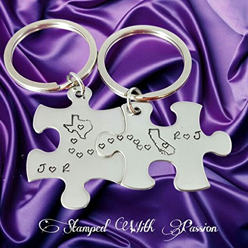 Long Distance Gift, Personalized Keychains, Custom Keychains, Coulples Gift, Relationship gift, Anniversary Gift, Puzzle Key chains, Love