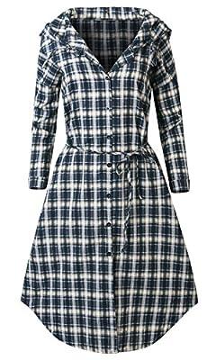 Howels Longline Plaid Check Knee Length Belt Shirt Dress Hooded Tunic Jacket