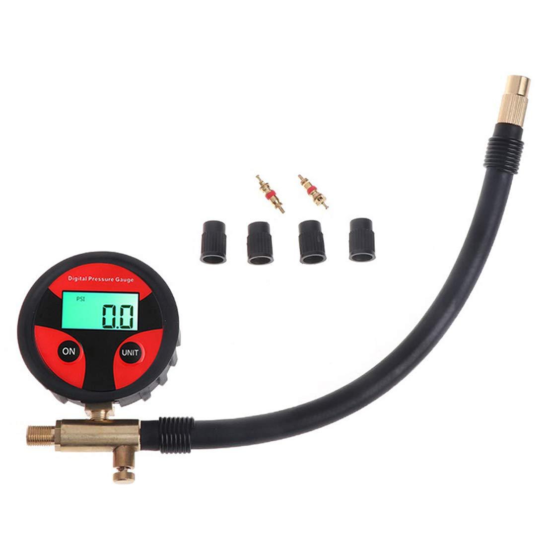SODIAL Digital Manometro della Pressione dei Pneumatici 200Psi LCD Manometro del Camion dei Pneumatici per Auto 4 unità Disponibili (30Cm)