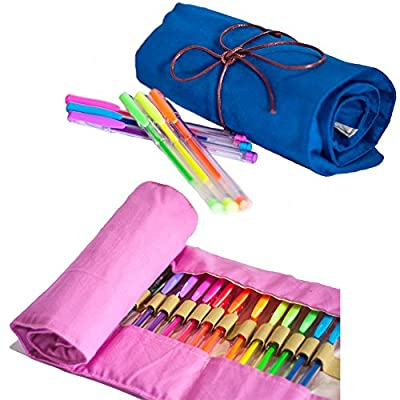 Gel Pens 36 Colors With Portable Canvas Case For Drawing, Coloring, Sketching And Crafting. 30% More Ink, Safe For Kids, Quick Dry And Safe Closing. Bonus: Super Mega-Pack Coloring E-Book