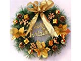 Yunqir Flower Christmas Garland Door Hanging Ornaments Room Christmas Tree Pendants for Decoration(Golden)