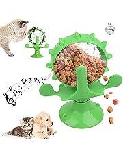 ZoneYan Windmolen kattenspeelgoed, voederdispenser, draaibaar kattenspeelgoed, windmolen kattenspeelgoed met zuignap en lekgat, interactief speelgoed voor katten