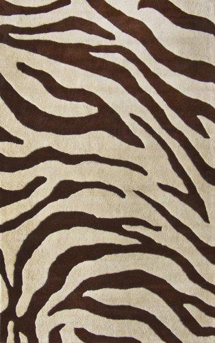 NuLoom Safari Zebra Print 4 Foot x 6 Foot Wool Area Rug, Brown