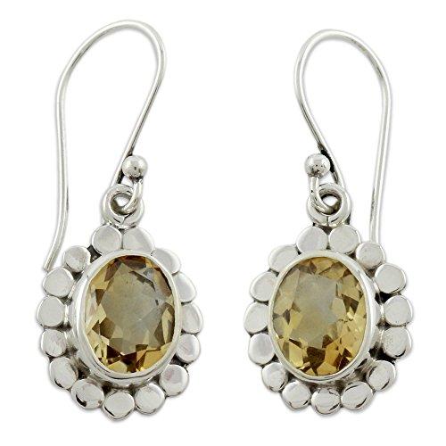 NOVICA Citrine .925 Sterling Silver Dangle Earrings 'Radiant Petals'