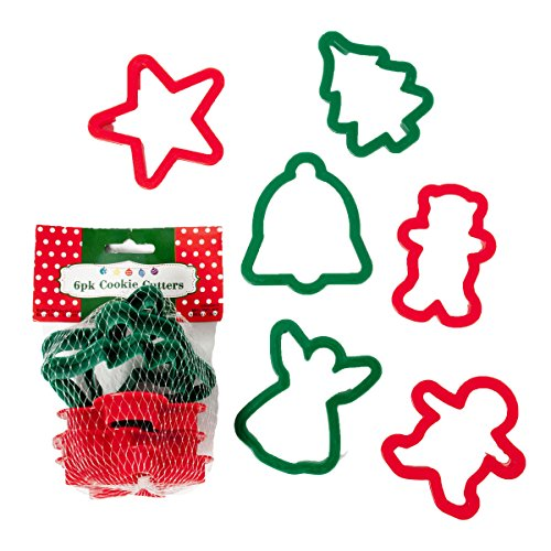 Set of 12 Plastic Christmas Cookie Cutters - 6 Fun Festive Designs - 2 - Plastic Cookie Christmas Cutters