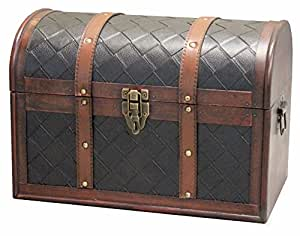 amazon com vintiquewise tm wooden leather treasure chest kitchen