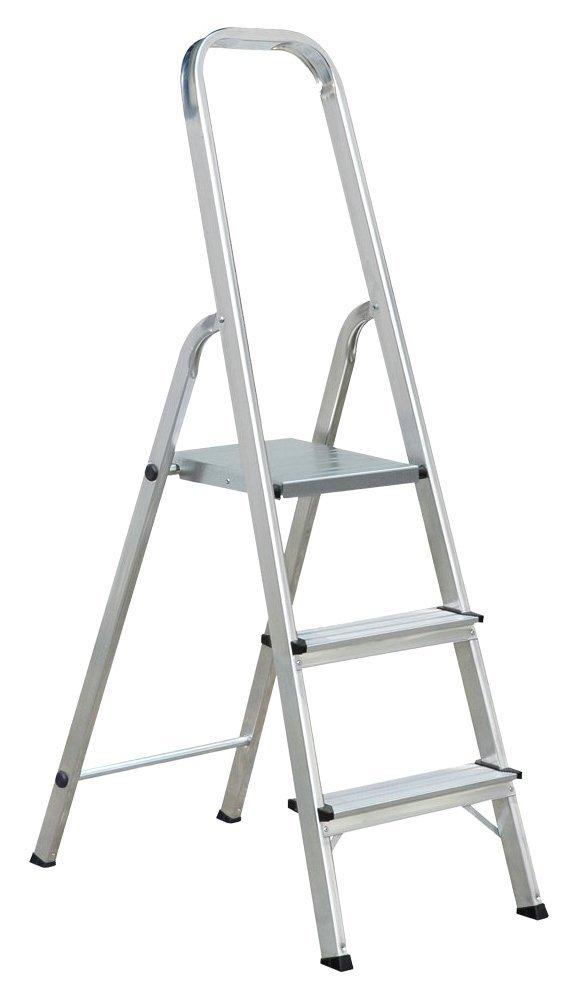 Draak Step Ladder 3 Step - Non Slip Treads - Ladder Made From Lightweight Aluminium Certified to BS EN 131 Part 1-3 DRAAK-ALUM-SL-3