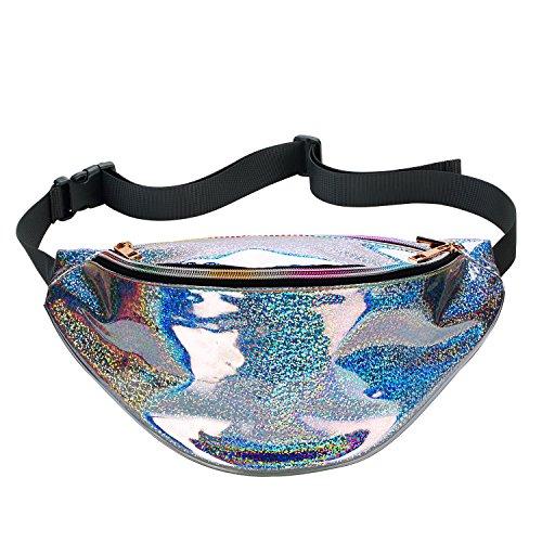 Shiny Neon PVC Hologram Casual Travel Bag Stylish Fanny Pack Bum Bag Rave Festival Beach Waist Bag for Women Girls