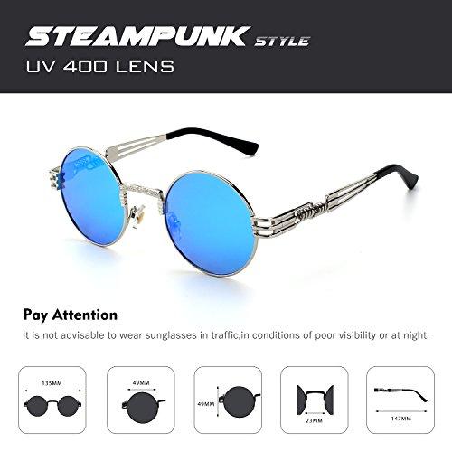 soleil pour du retro Lunettes C rond style CGID Bleu métallique inspirées Steampunk hommes cercle en polarisées Argenté de E72 S6xfqwt