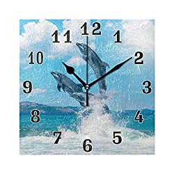 WXLIFE Sea Animal Dolphin Jumping Square Acrylic Wall Clock, Silent Non Ticking Art Painting for Kids Bedroom Living Room Office School Home Decor