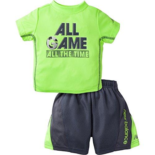 New Balance Boys' Performance T-Shirt & Logo Short, Lime Glow/Thunder, 12 Months