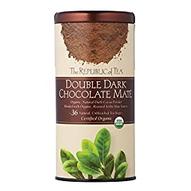 The republic of tea, double dark chocolate mate, 36 count 5 it's a match made in heaven: antioxidant-rich, organic, roasted yerba maté blended with organic dark cocoa powder in a guilt-free, full-bodied dessert tea dark chocolate also brims with antioxidants, plus polyphenols - compounds known to lower blood pressure all with less than 5 calories per cup