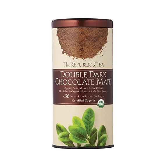 The Republic of Tea, Double Dark Chocolate Mate, 36 Count 1 It's a match made in heaven: antioxidant-rich, organic, roasted Yerba Maté blended with organic dark cocoa powder in a guilt-free, full-bodied dessert tea Dark Chocolate also brims with antioxidants, plus polyphenols - compounds known to lower blood pressure All with less than 5 calories per cup