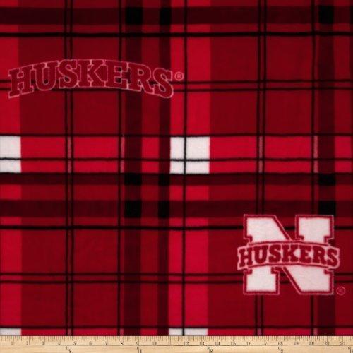 (Collegiate Fleece University of Nebraska Plaid Camo Fabric By The Yard)