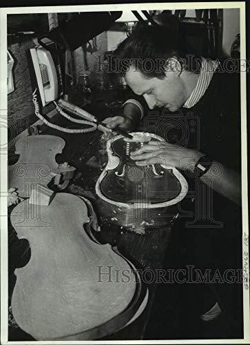 Vintage Photos 1990 Press Photo Martin Macica Builds Violin in his Schuylerville, New York Shop (Best Violin Shop In New York)