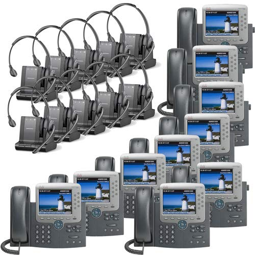 Plantronics Savi W710-M Multi Device Wireless Over-The-Head Headset System Cisco Unified IP Phone 7975G (10 Pack) Combo