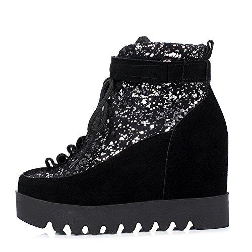 BalaMasa Womens No-Closure AssortedColor Casual Urethane Boots Black TKfrJ9r4